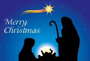 Birth of Jesus Christmas card.