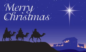 Merry Christmas card with Christian scene.