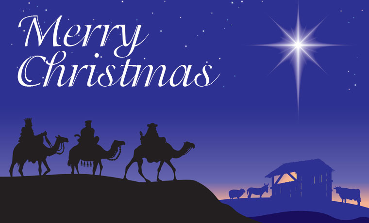 merry christmas card with christian scene