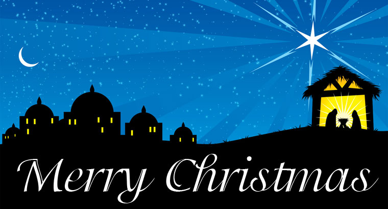 Merry Christmas Card - Jesus in a Manger - Christian Blog